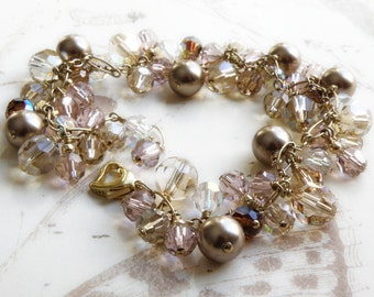Champagne Pearl Bracelet, Pink Crystal Accents, Gold Filled, Swarovski Pearl Bracelet, Cluster, Bridal Wedding Handmade Jewelry