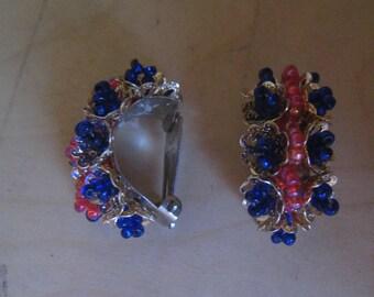 50s BEADED HOOP Earrings 1950s