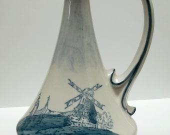 Vintage porcelain white/blue windmill Holland design pitcher,Holland design pitcher,Holland windmill design pitcher,white/blue pitcher,