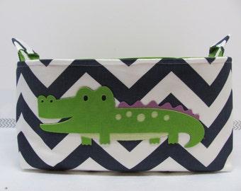 SALE Fabric Applique CROCODILE Diaper Caddy - Fabric organizer storage bin basket - Zig Zag/Chevron You- Nursery Decor - RTS