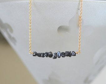 Black Diamond Bar Necklace April Birthstone