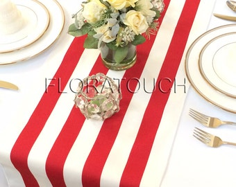 White and Red Stripe Table Runner Wedding Table Runner with white stripes on the borders