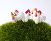 5 Tiny Chicken/ Miniature Chicken/ ChickenTerrarium Accessories/ Miniature Rooster/  Miniature Hen