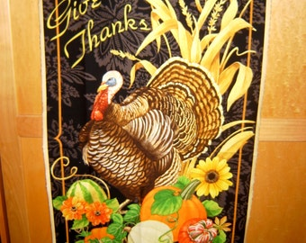 Fabric Wilmington Harvest Time Thanksgiving Turkey Give Thanks PANEL 28074