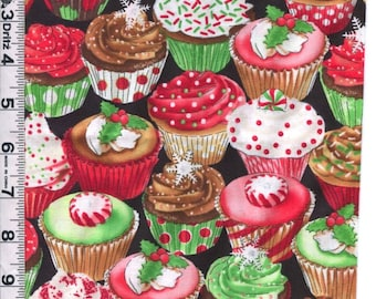 Fabric Timeless decorated CHRISTMAS holiday Cupcakes on black silver glitter chocolate vanilla  CM1284