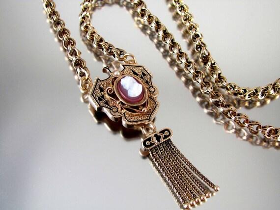 Antique Victorian gold taille de epargne black enamel hardstone carnelian cameo tassel fringe necklace