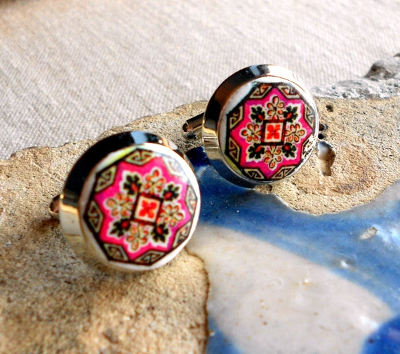 Portugal Pink Purple Antique Azulejo Tile Replica CUFFLINKS  OVAR (see actual Facade photos) 17mm
