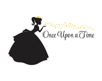 Fairy Princess wall decal with Once Upon a Time letters Baby Girl wall decor - Nursery wall art - baby wall decor - princess wall decal art