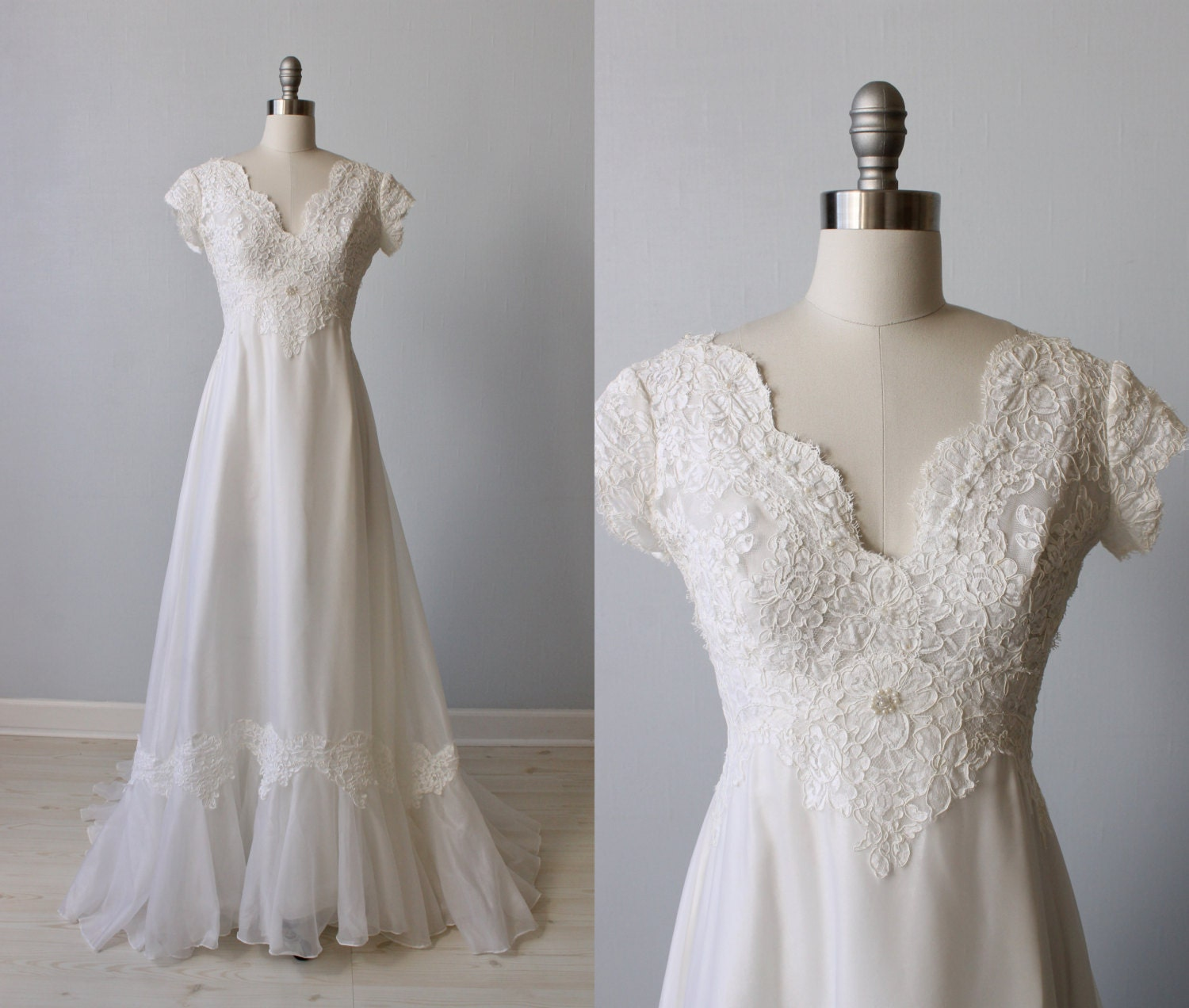 lace wedding dress 1970s wedding dress chiffon short With 1970 wedding dresses