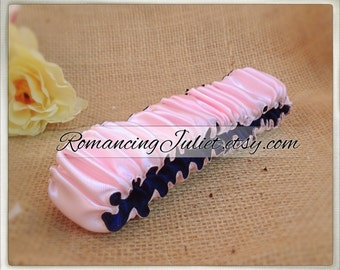 The Original Fully Reversible Bridal Garter..You Choose The Colors..shown in pale pink/navy blue