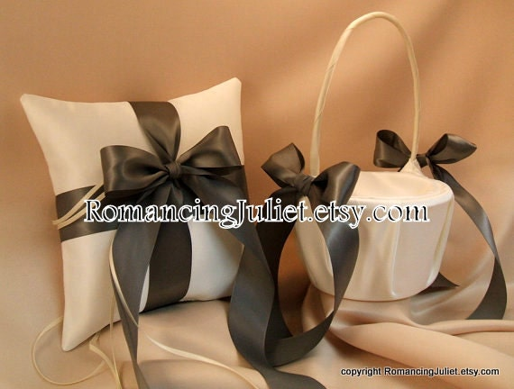 Custom Colors Flower Girl Basket and Ring Bearer Pillow Set...You Choose The Colors..shown in ivory/pewter gray