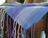 Handwoven Shawl, Woven Scarf, Wrap, Ocean Wish