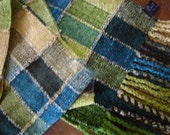 Handwoven Chenille Scarf, Soft Greens, Stained Glass Series
