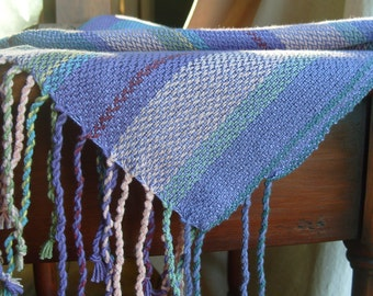 Handwoven Shawl, Woven Scarf, Wrap, Ocean Wish