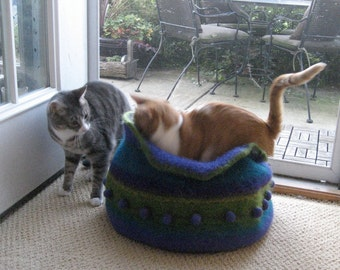 cat bed made to order felted kitty kave