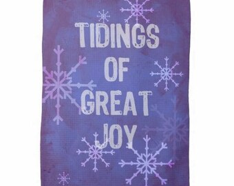 Christmas tea towel, kitchen word art, tidings of great joy, snowflakes, winter christmas message, blue purple decor accessory