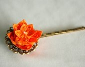 Vintage Style Orange Flower Bobby Pin, Hair pin, Origami Flower, Romantic, Chic, Bridesmaid Gift