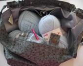 KNITTING BAG APRON - Made To Order - Mini Sheep Print on Charcoal