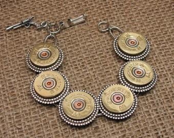Bullet Jewelry - Shotgun Casing Jewelry - 20 Gauge Shotshell Bracelet - Designer Link Style Bracelet Featuring 6 Shotgun Casings