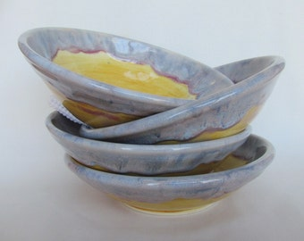 Salad Soup Cereal Bowl Purple and Gold Pottery 4 Bowl Set
