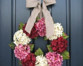 Valentine Wreath, Hydrangea Wreath, Pink, Red, Wreaths, Valentine Gifts, Door Wreaths, Wreaths for Door, Holiday Wreaths