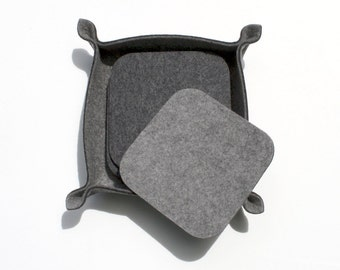 Square Felt Coasters with Holder 3mm Thick Virgin Merino Wool Felt Fabric Coaster Set Ecofriendly Housewarming Hostess Gift Barware Grey