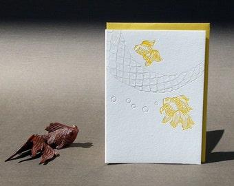Wishing Goldfish Letterpress Card