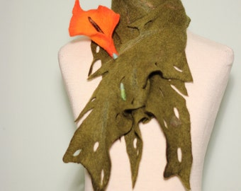 Felted leaf scarf with flower brooch