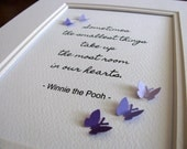 Winnie the Pooh Smallest Things 5x7 Word Art with 3D Mini Butterflies. Keepsake. Personalization Available. Made to Order