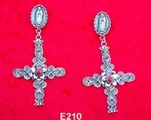 E210 Guadalupe and Multi Layered Sterling Silver Cross with Coral Desert Flower Southwestern Native Style Earrings