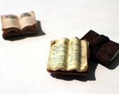 Miniature Open Book --- Antique Journal