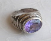 Oval Amethyst Ring - Sterling Silver Tiered Band Big Bold Ring - Size 6