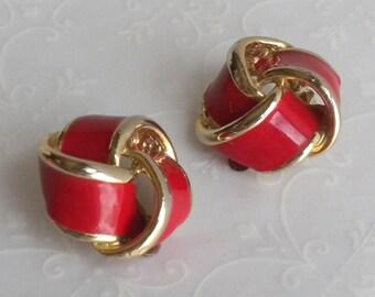 Vintage Red Enamel Love Knot Clip Back Earrings - Gold Tone - Open Weave
