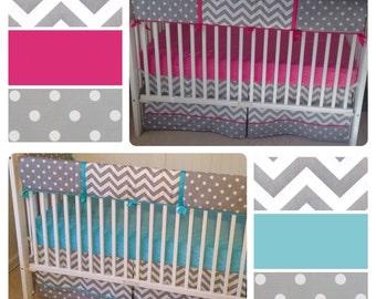 Girl Boy Twins Fuchsia Aqua Gray Crib Bedding Set