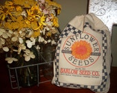 feed sack, Flower sack, seed sack, feed bag, Sunflower,  feed sack, gift bag, fabric supplies, craft supply, seed sack