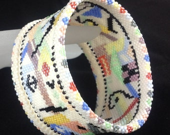 Abstract Beadwoven Bangle  ... Inspired by Kandinsky ... EBW Team