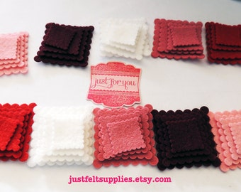 40 Wool Felt Pack- Die cut Felt scalloped Tiny Square, ( Valentine's colors)