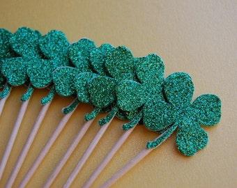 Sparkle Green Four Leaf Clover Shamrock Cupcake Topper Picks -- St Patrick's Day-WeddingTopper-Irish Party Decor-Set of 12 -- Ready to Ship