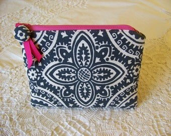 ZIPPERED CLUTCH zippered pouch zippered bag. Charcoal grey damask and hot pink accents