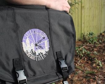 Black Clockwork Messenger Bag Padded Computer Pocket