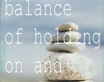 life is a balance Photo Motivational Nature Meditation Vintage Style Rocks Beach