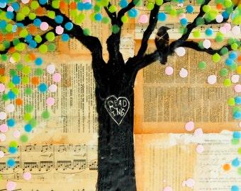READING Tree Art Print Mixed Media Art Collage Encaustic Vintage Sheet Music Book Lover Blackbird Spring Tree