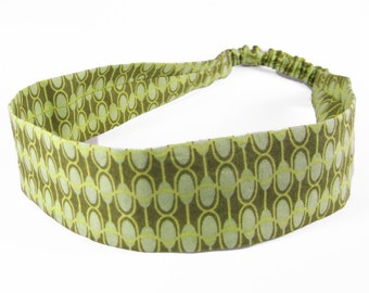 """Fabric Headband - Wavy Green - Pick your size - fit toddlers to adults - 1-1/2"""" wide"""