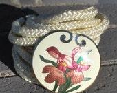 Vintage 80's Flower Enamel Stretchy Rope Belt