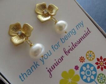 Junior bridesmaid gift, flower earrings, gift for flower girls, Thank you card, jr. Bridesmaid earrings, pearl dangle