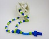 Catholic Rosary made of Lego Bricks -  Lego Bricks Rosary in blue , lime green and white