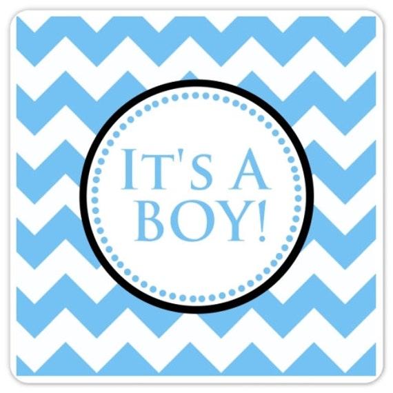 Baby Shower It's A Boy Labels Blue Chevron Square