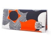 Bi-fold Clutch - orange and navy blue bold geometric floral retro vintage fabric