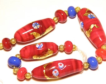 60% OFF SALE  --- DESTASH -- Set of Twelve (12)  Red and Royal Blue Tube and Rondelle Lampwork Beads with Murrini and Gold Leaf - Lot F