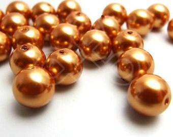 M10DEGP / 24Pc / 10mm - Antique Gold ( Gamboge tone ) Metallic Glass Pearl Beads